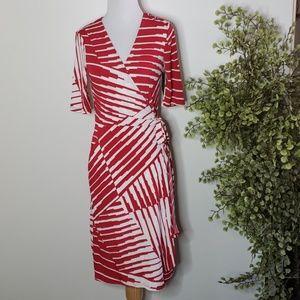 Merona Red & White Wrap Dress